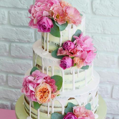 №206 Голый торт с цветами