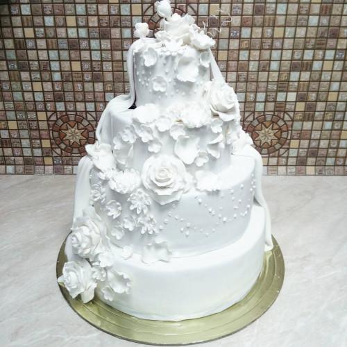 №415 Торт белый на свадьбу