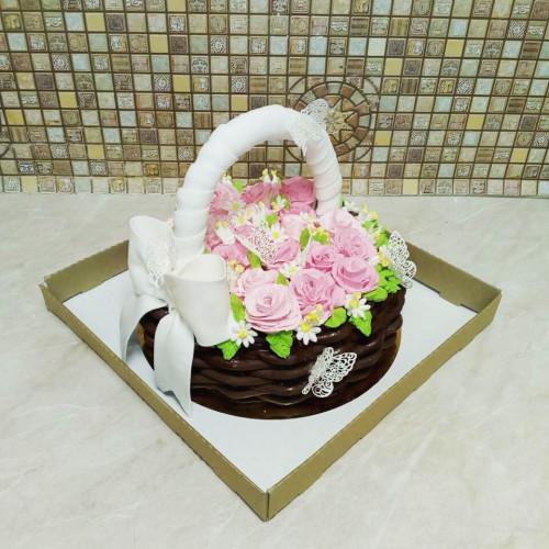 №430 Торт корзинка цветов