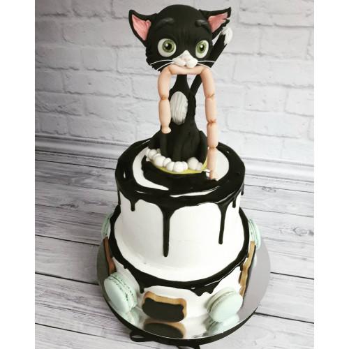 №477 Торт с кошкой из мастики